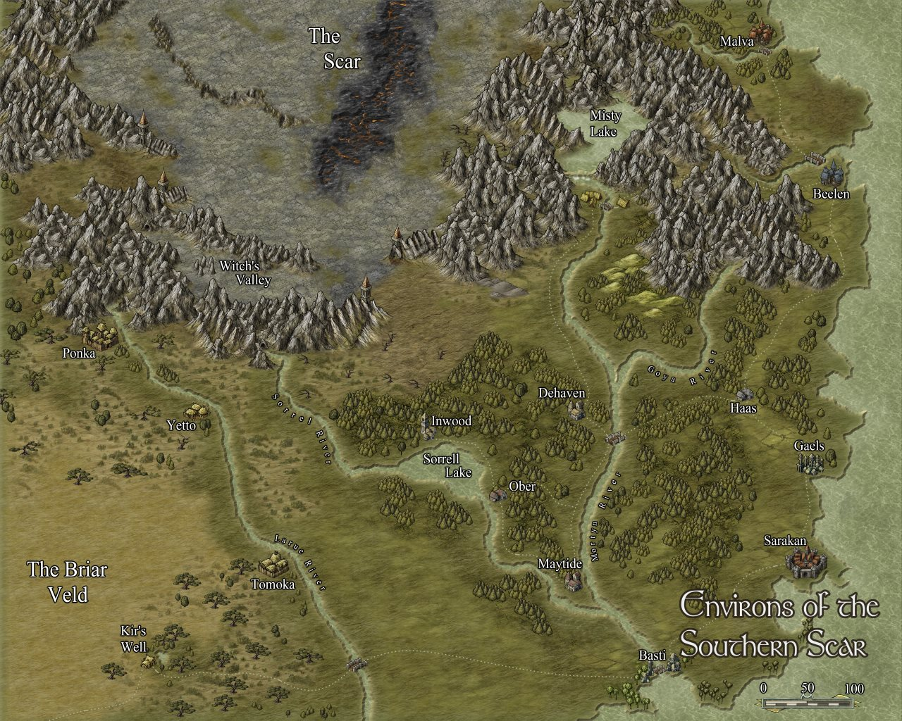 Nibirum Map: southern scar environs by Shessar