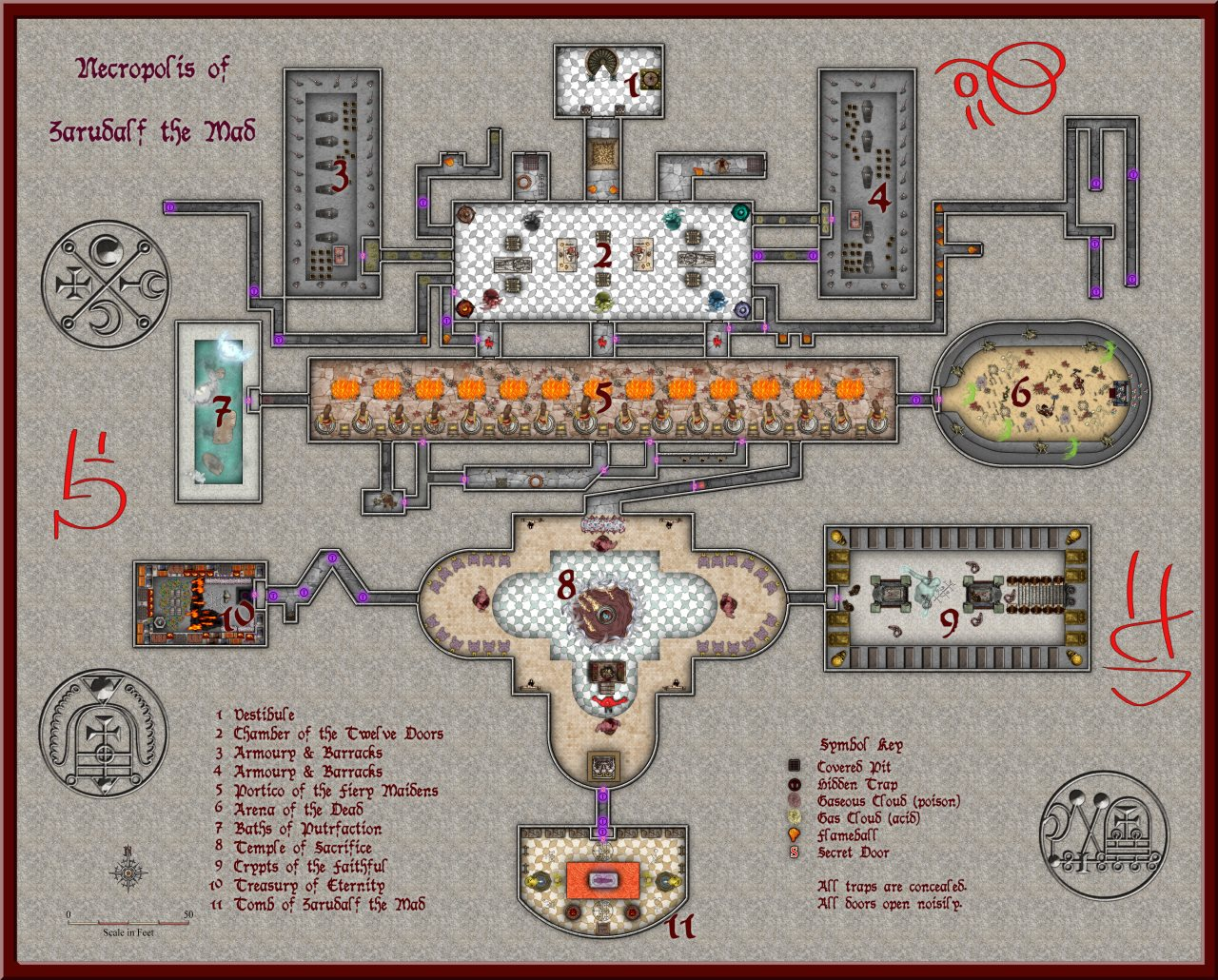Nibirum Map: temple of the unholy dungeon level 07 - necropolis of zarudalf the mad by Quenten Walker