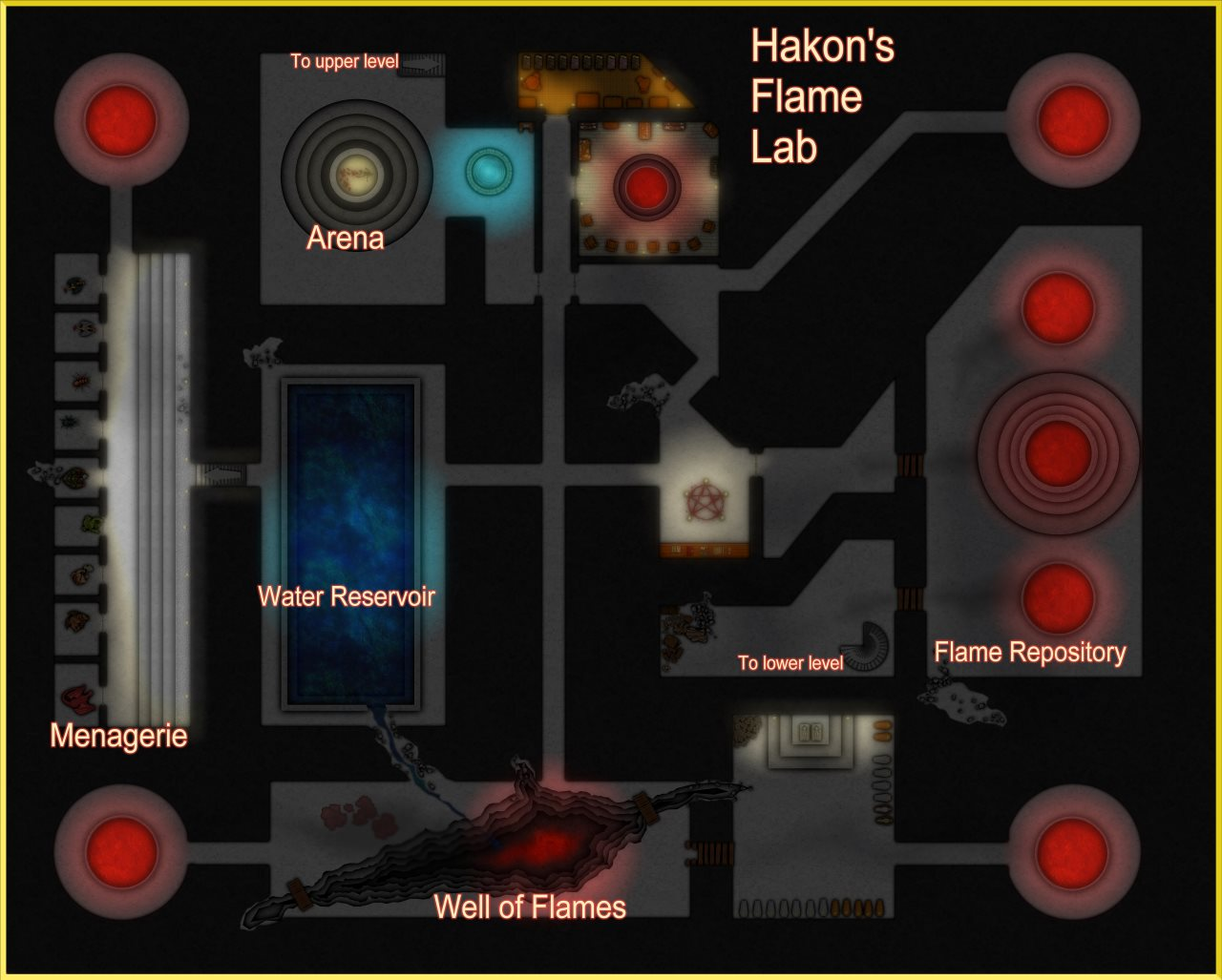 Nibirum Map: temple of the unholy dungeon level 11 - Hakon's Flame Lab by Linda Böckstiegel