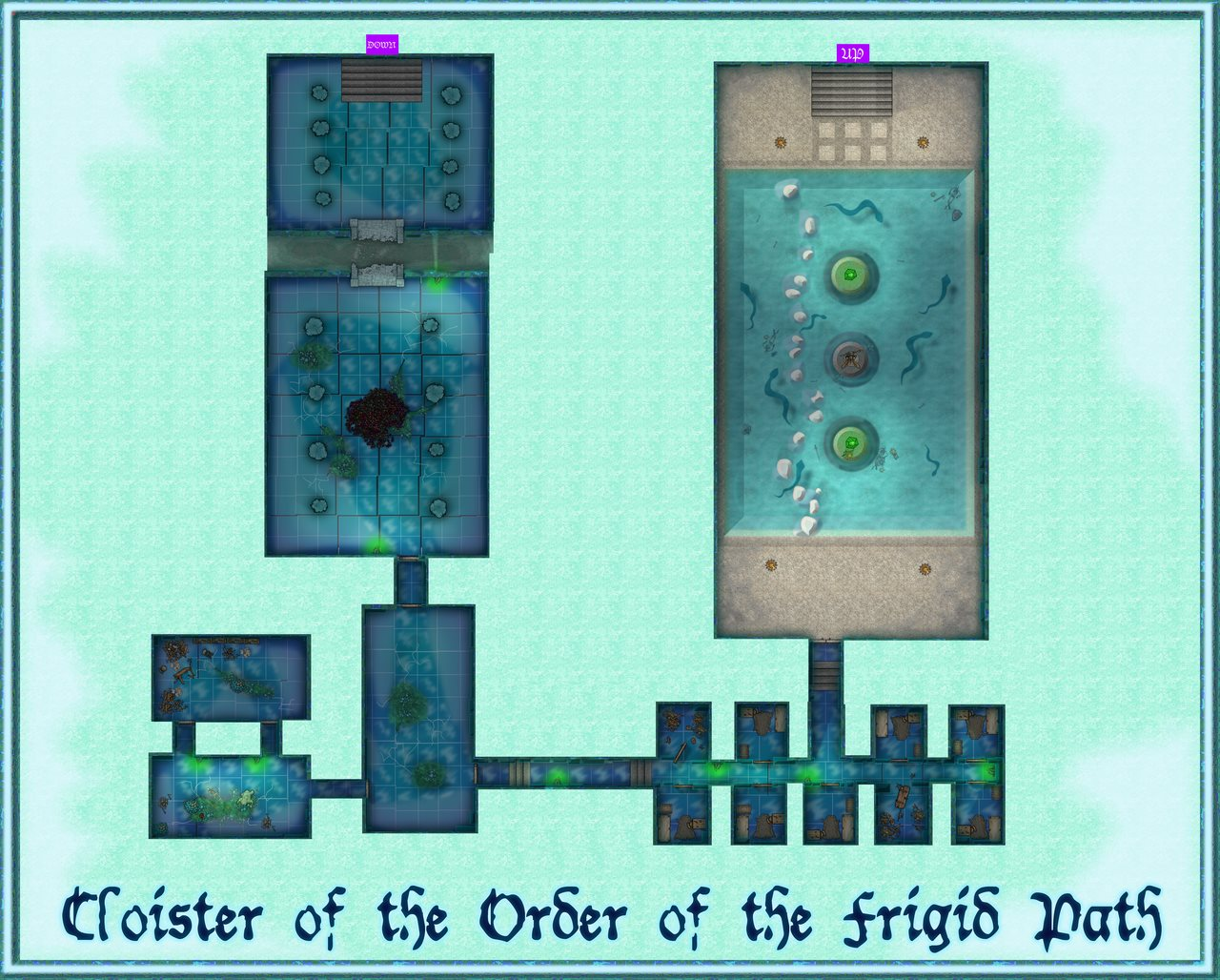 Nibirum Map: temple of the unholy dungeon level 14 - cloister of the order of the frigid path by Mark Olsen