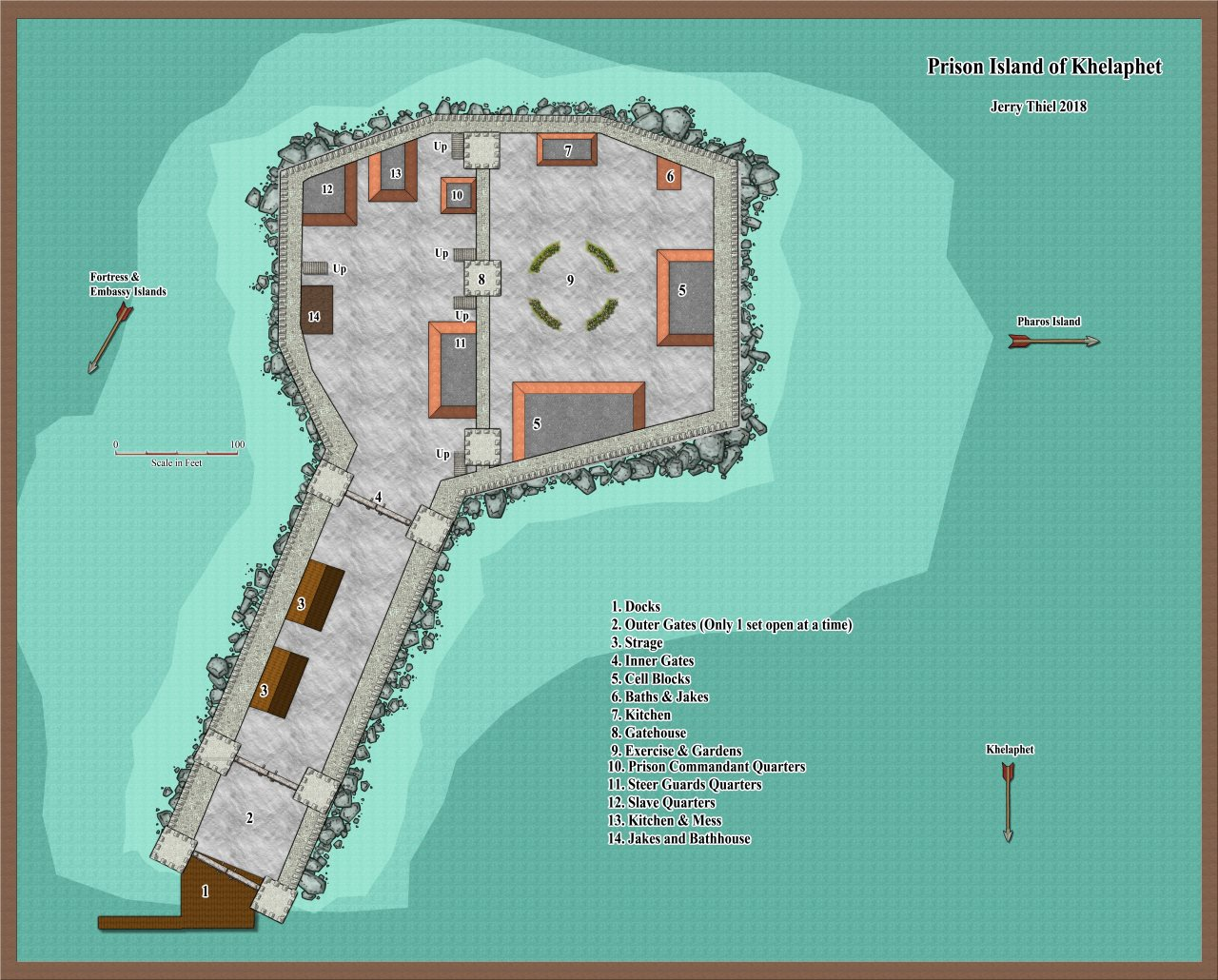 Nibirum Map: Prison Island of Khelaphet by Jerry Thiel