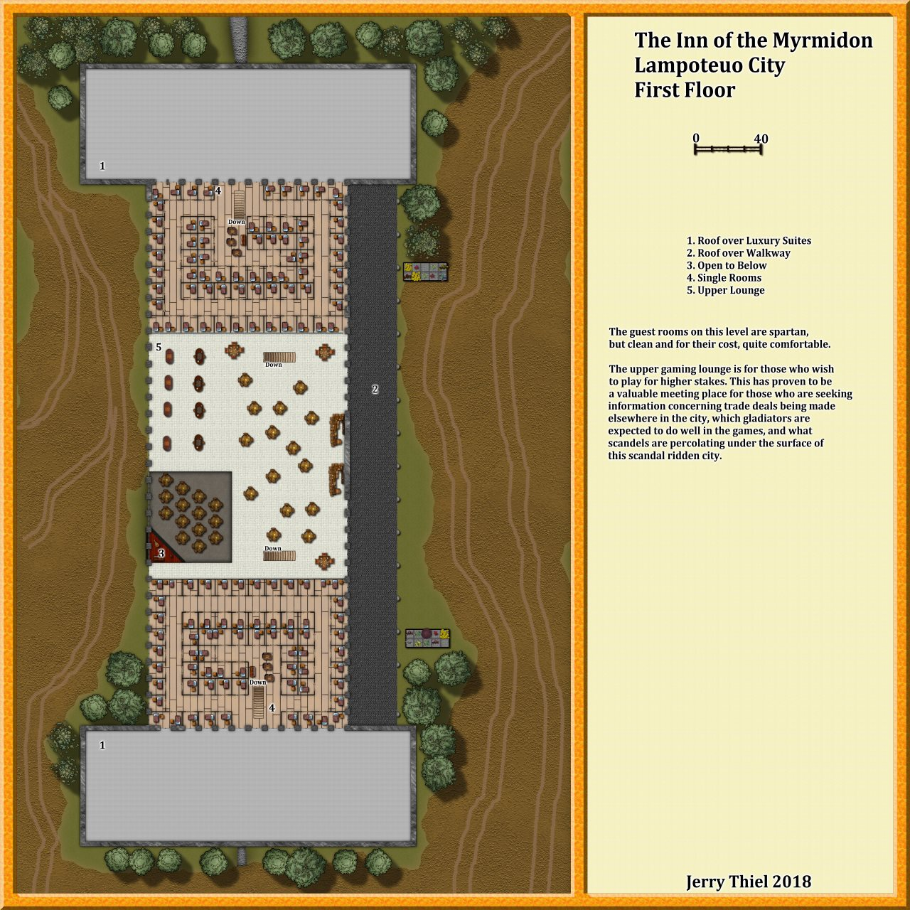 Nibirum Map: The Inn of the Myrmidon First Floor by Jerry Thiel