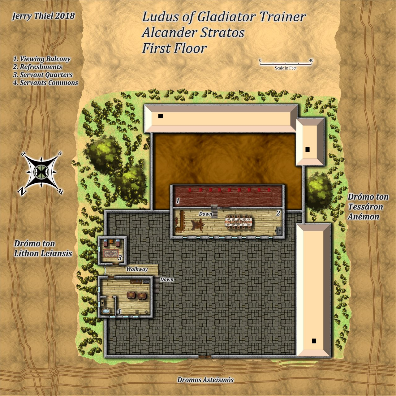 Nibirum Map: gladiator ludus first floor by Jerry Thiel