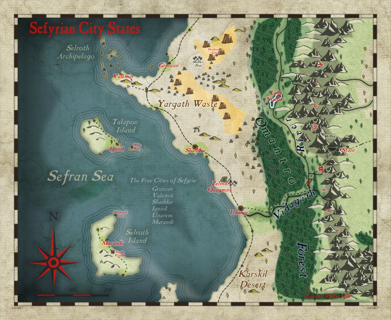 Nibirum Map: sefyrian city states by Quenten Walker