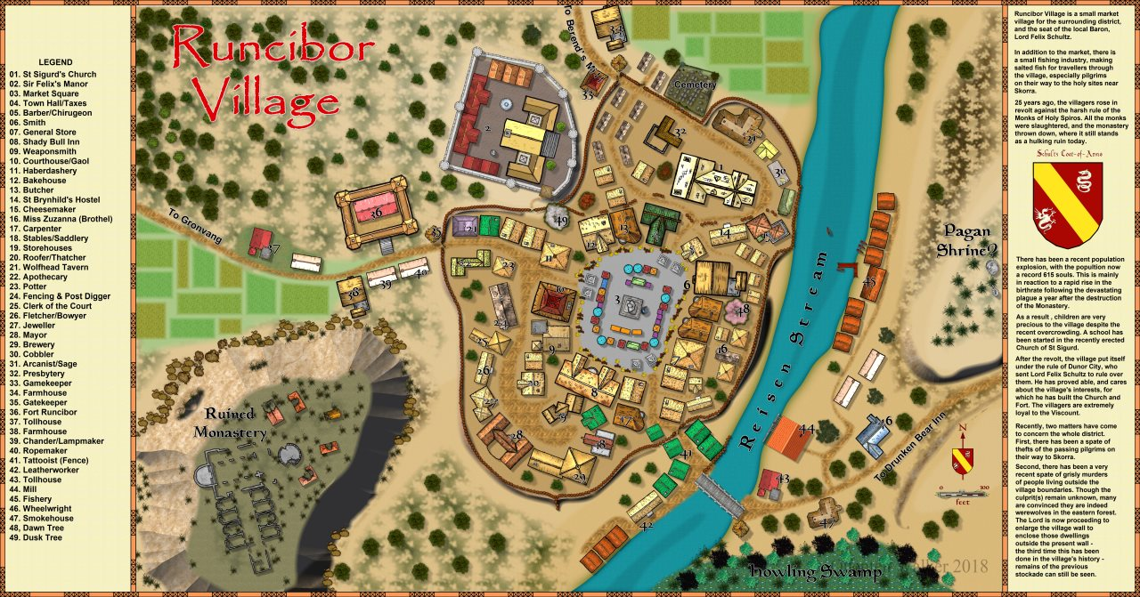 Nibirum Map: runcibor village by Quenten Walker