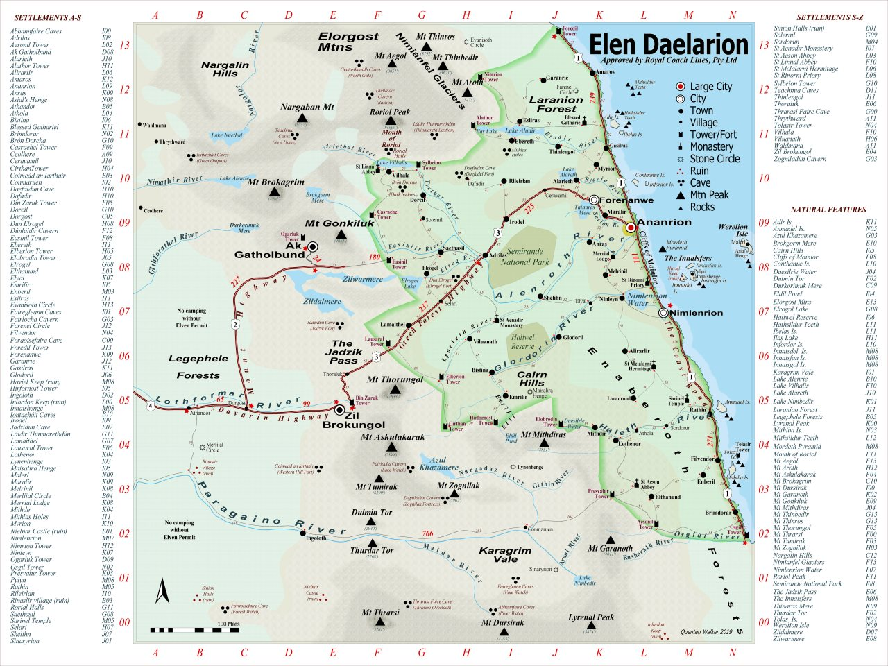 Nibirum Map: Elen Daelarion - Modern Political by Quenten Walker